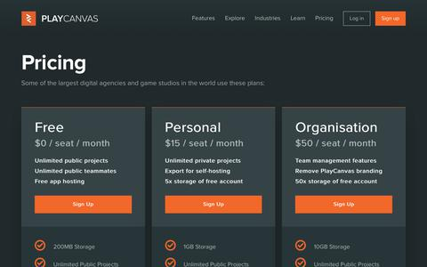 Screenshot of Pricing Page playcanvas.com - Plans and Pricing | PlayCanvas - captured July 13, 2018