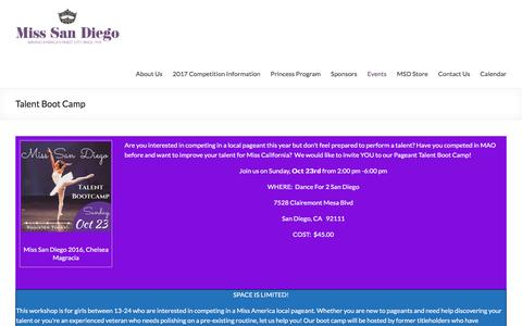 Screenshot of Signup Page misssandiego.org - Talent Boot Camp | - captured Dec. 20, 2016