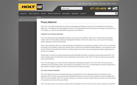 HOLT CAT:  Privacy Statement
