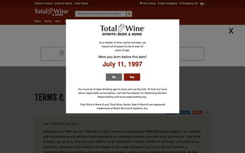 Screenshot of Terms Page totalwine.com - Terms & Conditions - captured July 11, 2018