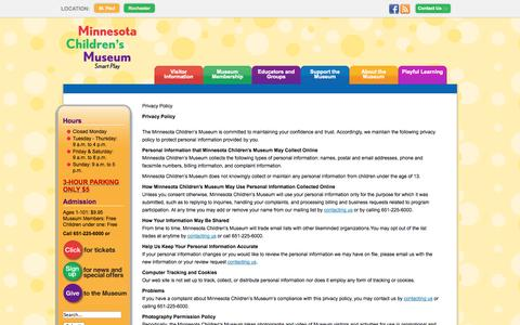 Screenshot of Privacy Page mcm.org - Minnesota Children's Museum - Privacy Policy - captured Oct. 26, 2014