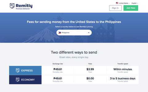 Screenshot of Pricing Page remitly.com - US Dollar to Philippine Peso Exchange Rate - captured Oct. 30, 2019