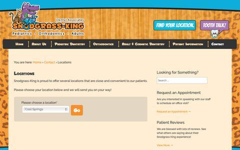 Screenshot of Locations Page snodgrassking.com - Locations | Snodgrass-King Dental Associates - captured Oct. 18, 2018