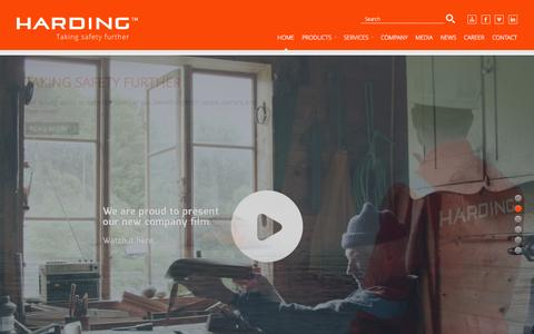 Screenshot of Home Page harding.no - Harding - Taking safety further - captured Oct. 2, 2014