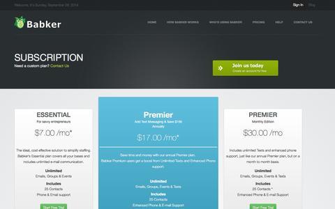 Screenshot of Pricing Page babker.com - Pricing | Babker - captured Sept. 30, 2014