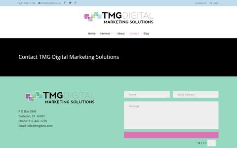 Screenshot of Contact Page tmgdigitalmarketingsolutions.com - Contact Us - TMG Digital Marketing Solutions - captured June 16, 2017