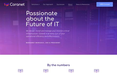 Screenshot of About Page coranet.com - Coranet | Positioned for IT Services Future - captured Sept. 29, 2018