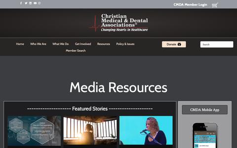 Screenshot of Press Page cmda.org - Media – Christian Medical & Dental Associations - captured Sept. 28, 2018