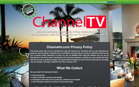 Screenshot of Privacy Page channeltv.com - Channeltv.com - Privacy & Policy - captured Dec. 8, 2015