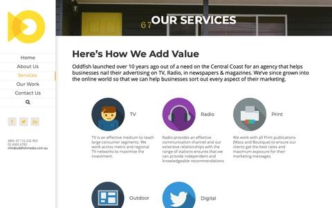 Screenshot of Services Page oddfishmedia.com.au - Services | Oddfish - captured Oct. 19, 2018