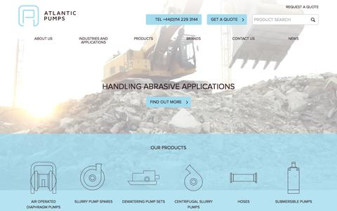 Screenshot of Home Page atlanticpumps.co.uk - Slurry & Submersible Pumps For Dewatering Solutions - Atlantic Pumps - captured Aug. 2, 2015