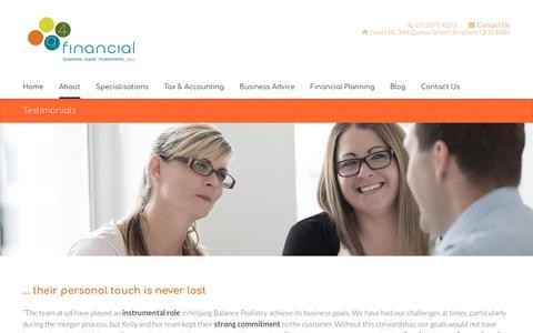 Screenshot of Testimonials Page q4financial.com.au - Testimonials - q4 financial - captured July 25, 2018