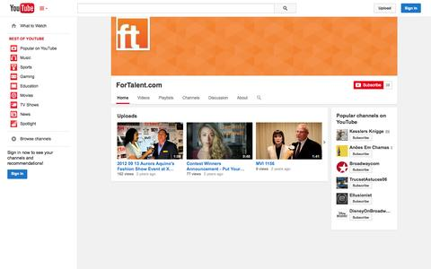 Screenshot of YouTube Page youtube.com - ForTalent.com  - YouTube - captured Oct. 23, 2014