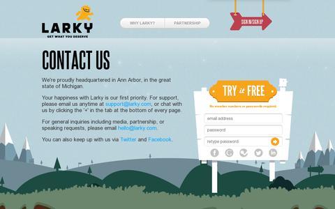 Screenshot of Contact Page larky.com - Larky - Home - captured July 19, 2014