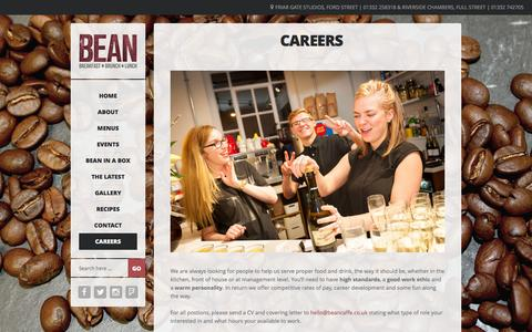 Screenshot of Jobs Page beancaffe.co.uk - | BEAN Caffé | Derby's Best Cafe for Breakfast, Lunch and Catering | Friar Gate Studios | | Careers  - | BEAN Caffé | Derby's Best Cafe for Breakfast, Lunch and Catering | Friar Gate Studios | - captured Dec. 28, 2015