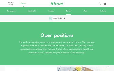 Screenshot of Jobs Page fortum.com - Open positions | Fortum - captured Dec. 25, 2017