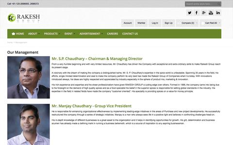 Screenshot of Team Page rakeshgroup.com - Management - captured Nov. 29, 2016