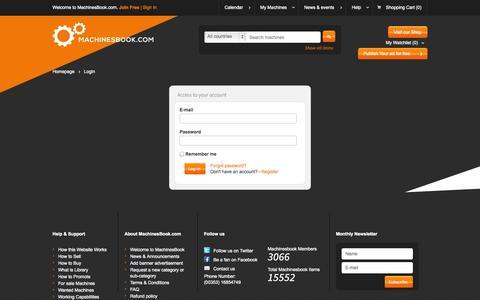 Screenshot of Login Page machinesbook.com - Login - Machinesbook - captured Sept. 30, 2014