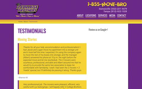 Screenshot of Testimonials Page 2collegebrothers.com - Local Movers Tampa | Testimonials | 2 College Brothers - captured Oct. 21, 2018