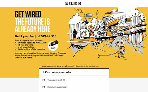 Screenshot of Landing Page wired.com - WIRED International & Overseas Subscription - captured April 19, 2018