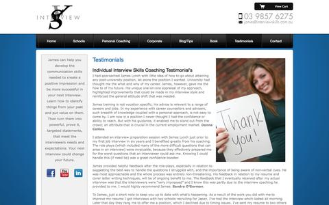 Screenshot of Testimonials Page interviewskills.com.au - Successful Interview Skills - captured Sept. 30, 2014