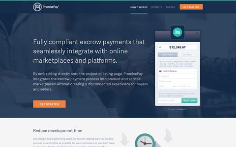 Screenshot of Home Page promisepay.com - Marketplace Escrow Payments - PromisePay - Home - captured July 11, 2014