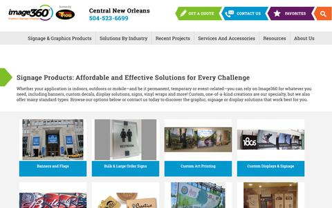 Screenshot of Products Page image360.com - Products - Image360 Signs Central New Orleans - Banners, Graphics, Vehicle Wraps and Displays - captured Oct. 2, 2018