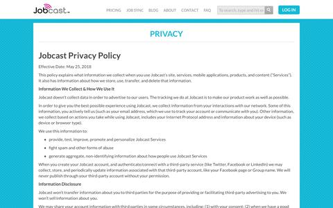 Screenshot of Privacy Page jobcast.net - Privacy - captured June 3, 2018