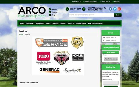 Screenshot of Services Page arcolawn.com - Services ARCO Lawn Equipment Ballwin, MO 636-394-0044 - captured Feb. 7, 2016