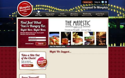 Screenshot of Home Page memphisrestaurants.com - Your Guide to Dining in Memphis - The Memphis Restaurant Association - captured Oct. 6, 2014