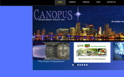 Screenshot of Home Page canopusinvestmentgroup.com - Home - captured June 18, 2015