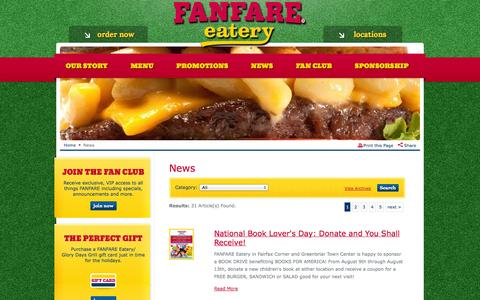 Screenshot of Press Page fanfareeatery.com - News and Updates   FANFARE Eatery - captured Sept. 30, 2014