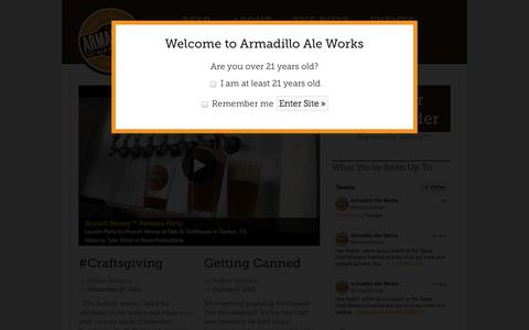 Screenshot of Home Page armadilloaleworks.com - Armadillo Ale Works - Representin' Denton - captured Sept. 30, 2014