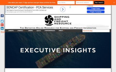 Screenshot of Home Page shippingandfreightresource.com - Shipping and Freight Resource - Educational Blog about Shipping and Freight - captured May 21, 2018
