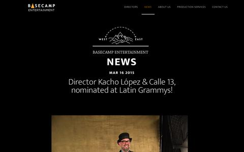 Screenshot of Press Page basecampent.com - News - Basecamp Entertainment - captured Feb. 7, 2016