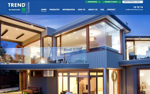 Screenshot of Home Page trendwindows.com.au - Trend Windows & Doors: Home • Aluminium • Timber - captured Aug. 10, 2015