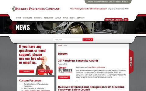 Screenshot of Press Page buckeyefasteners.com - News   Buckeye Fasteners - captured Oct. 11, 2017