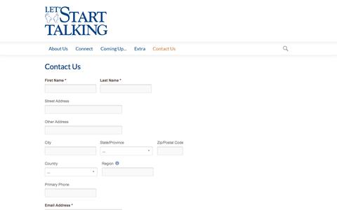 Screenshot of Contact Page lst.org - Let's Start Talking Ministry   Contact Us - captured Oct. 2, 2014