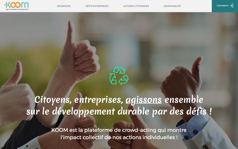 Screenshot of Home Page koom.org - Koom - captured Oct. 15, 2018