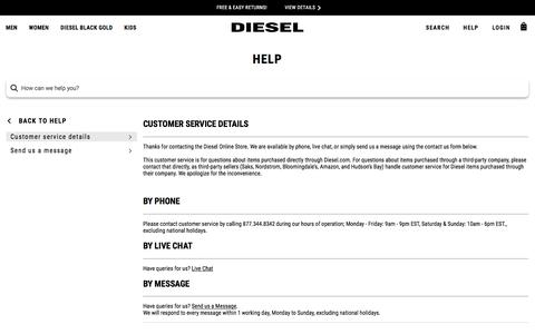 Screenshot of Contact Page diesel.com - CUSTOMER SERVICE DETAILS - captured Sept. 12, 2019