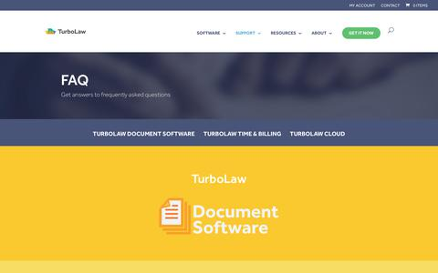 Screenshot of FAQ Page turbolaw.com - Frequently Asked Questions (FAQ) - TurboLaw Software - captured Sept. 18, 2017