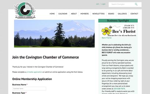 Screenshot of Signup Page covingtonchamber.org - Join the Covington Chamber of Commerce | Covington Chamber - captured Oct. 3, 2014