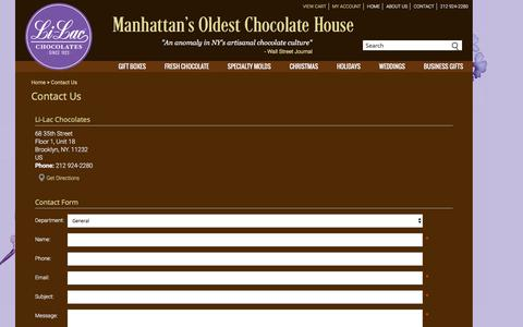Screenshot of Contact Page li-lacchocolates.com - Welcome to Li-Lac Chocolates  - Manhattan's Oldest Chocolate House - Since 1923 - captured Dec. 9, 2015
