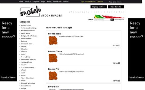Screenshot of Pricing Page snatchstockimages.com - Featured Credits Packages – Snatch Stock Images - Stock Photography | Vectors | Graphics | Videos - captured Oct. 26, 2014