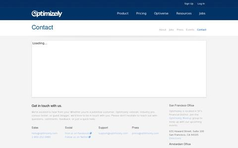 Screenshot of Contact Page optimizely.com - Optimizely: Contact - captured July 20, 2014