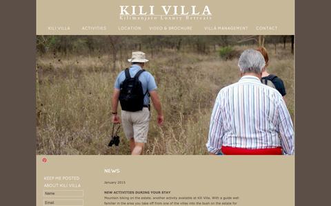 Screenshot of Press Page kilivilla.com - Kili Villa - NEWS - captured Feb. 12, 2016