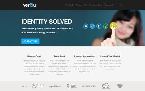 Screenshot of Home Page veridu.com - Home   Veridu.com - captured Sept. 23, 2014