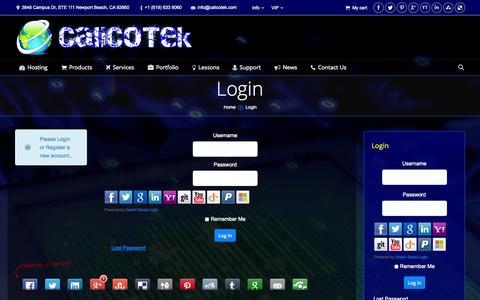 Screenshot of Login Page calicotek.com - Login   CaliCoTek - captured Sept. 27, 2014