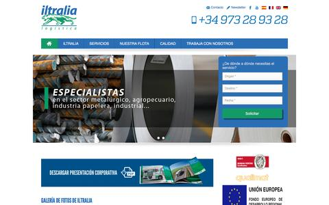 Screenshot of Home Page iltralia.com - Iltralia, especialistas en transporte de mercancías nacional y internacional - captured July 13, 2016