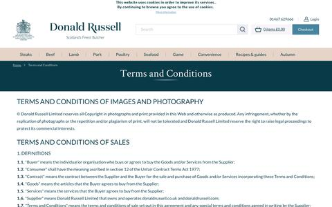 Screenshot of Terms Page donaldrussell.com - Terms and Conditions - captured Sept. 27, 2018